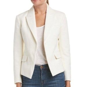 Theory Brince White Tweed Blazer Sz 6